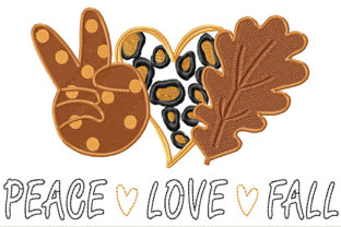 Peace Love Fall Leopard Heart and Leaf Autumn Embroidery Design By ArtDigitalEmbroidery
