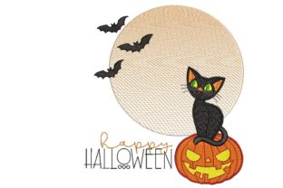 Print on Demand: Pumpkin and Cat Halloween Embroidery Design By ArtEMByNatali