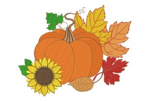 Print on Demand: Pumpkin and Fall Autumn Embroidery Design By ArtEMByNatali