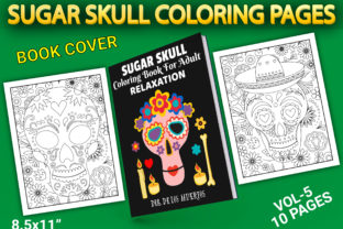 Print on Demand: Sugar Skull Coloring Pages with Cover Graphic Coloring Pages & Books Adults By Simran Store