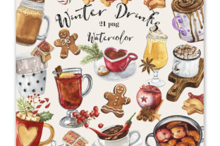 Watercolor Winter Drinks Graphic Illustrations By KaleArtCreative