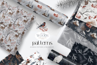 Print on Demand: Winter Woodland Seamless Patterns PNG Graphic Patterns By Busy May Studio