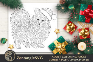 Christmas Dog Coloring Page for Adults Graphic Coloring Pages & Books Adults By ZentangleSVG
