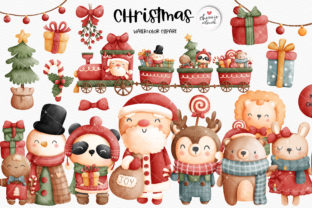 Print on Demand: Christmas Santa and Friends Clipart Graphic Illustrations By Chonnieartwork