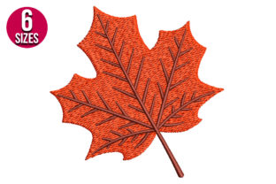Print on Demand: Fall Leaf Autumn Embroidery Design By Nations Embroidery