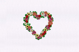 Heart Shape Flowers Floral Wreaths Embroidery Design By StitchersCorp