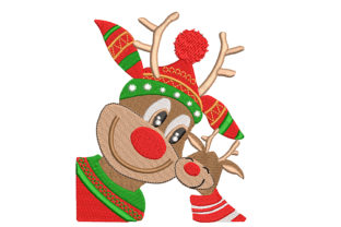 Reindeer with Baby Christmas Embroidery Design By Canada Crafts Studio