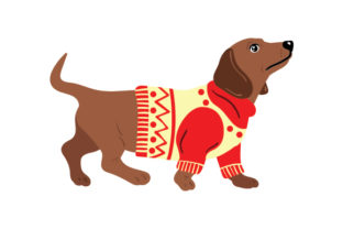 Dachshund Wearing a Christmas Jumper Dogs Craft Cut File By Creative Fabrica Crafts