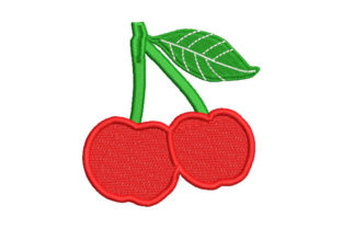 Cherries with Leaves Dessert & Sweets Embroidery Design By Embroiderypacks