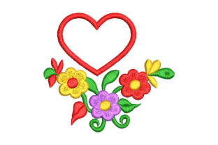 Colorful Flowers with Heart Valentine's Day Embroidery Design By Embroiderypacks