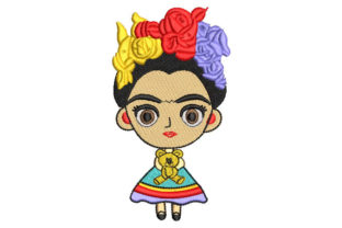Frida Kahlo Child Doll with Bear Babies & Kids Embroidery Design By Embroiderypacks