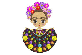 Frida Kahlo Doll with Skirt Babies & Kids Embroidery Design By Embroiderypacks