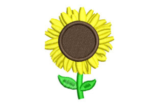 Sunflower Flower with Leaves Single Flowers & Plants Embroidery Design By Embroiderypacks