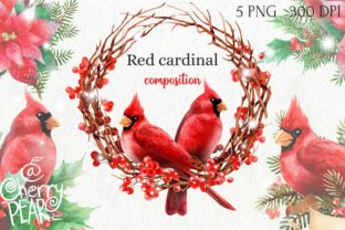 Print on Demand: Watercolor Christmas Red Cardinal PNG Graphic Illustrations By CherrypearStudio
