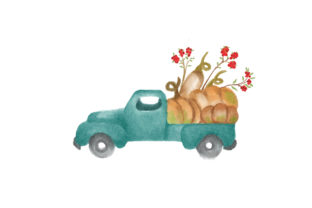 Watercolor Farmhouse Truck Filled with Pumpkins Thanksgiving Craft Cut File By Creative Fabrica Crafts