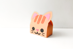 Cat Face Gift Box SVG Graphic 3D Shapes By RisaRocksIt
