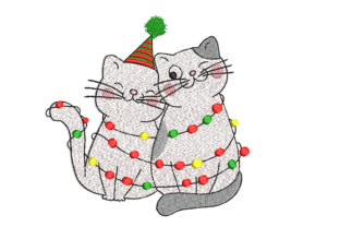 Christmas Cats Christmas Embroidery Design By Canada Crafts Studio