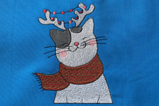 Christmas Reindeer Cat Christmas Embroidery Design By Canada Crafts Studio