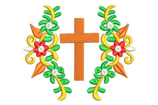 Flower with Cross Religion & Faith Embroidery Design By Embroiderypacks