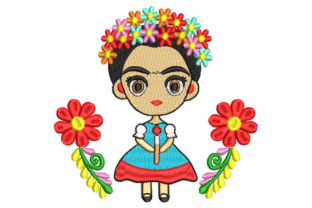 Frida Kahlo Animated with Flowers Babies & Kids Embroidery Design By Embroiderypacks