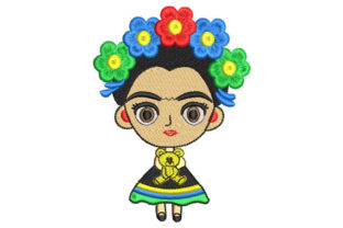 Frida Kahlo Child Doll Babies & Kids Embroidery Design By Embroiderypacks