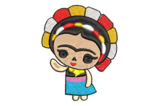 Frida Kahlo Doll with Flowers Babies & Kids Embroidery Design By Embroiderypacks