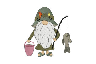 Print on Demand: Gnome Fisherman Caught a Fish Camping & Fishing Embroidery Design By EmbArt