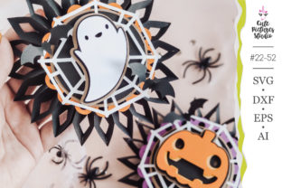 Halloween Paper Rosette SVG Template Graphic 3D Shapes By CutePicturesStudio