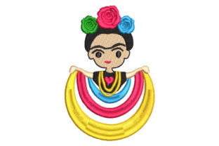 Mexican Frida Kahlo Doll with Roses Babies & Kids Embroidery Design By Embroiderypacks