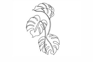 Monstera Outline Flowers Embroidery Design By LizaEmbroidery