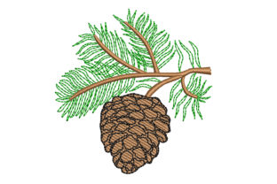 Pine Cone Single Flowers & Plants Embroidery Design By Canada Crafts Studio
