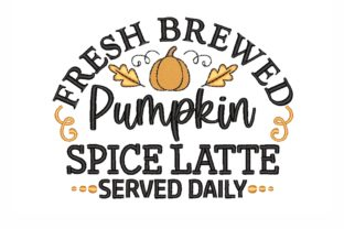 Pumpkin Spice Latte Autumn Embroidery Design By NinoEmbroidery