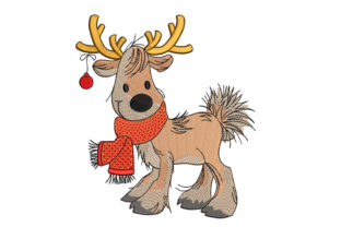 Reindeer Christmas Embroidery Design By Canada Crafts Studio
