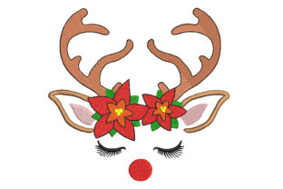 Reindeer with Poinsettia Christmas Embroidery Design By Canada Crafts Studio