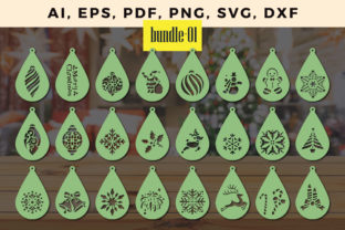 Print on Demand: Laser Cut Christmas Earring Bundle Svg 1 Graphic 3D SVG By NGISED