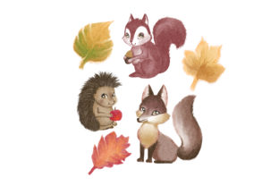 Watercolor Autumn Nature Set Animals Craft Cut File By Creative Fabrica Crafts