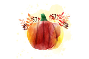 Watercolor Pumpkin with Autumnal Flowers Thanksgiving Craft Cut File By Creative Fabrica Crafts