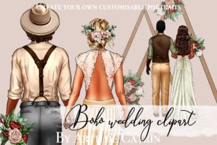 Boho Wedding Clipart, Groom and Bride Graphic Illustrations By Arte de Catrin