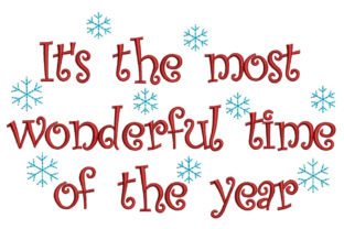 It's the Most Wonderful Time Christmas Christmas Embroidery Design By Canada Crafts Studio