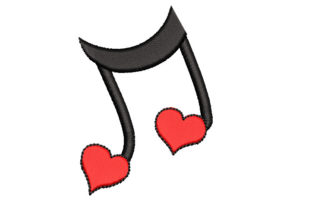 Music Note with Heart Music Embroidery Design By Canada Crafts Studio