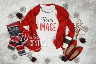 Women's White Winter Christmas T-Shirt Graphic Product Mockups By Mockup Central