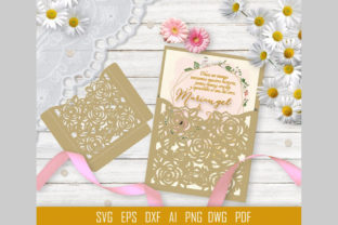 Rose Wedding Invitation Laser Graphic 3D Shapes By PerValDesigns