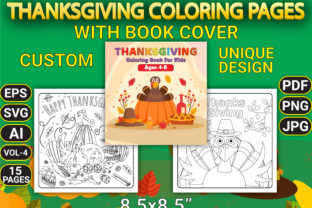 Print on Demand: Thanksgiving Coloring Pages with Cover Graphic Coloring Pages & Books Kids By Simran Store