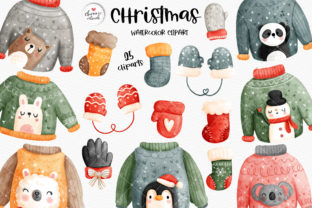 Print on Demand: Ugly Christmas Sweater Clipart Graphic Illustrations By Chonnieartwork