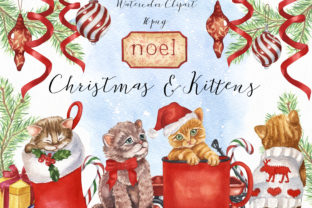 Watercolor Christmas and Kitten Graphic Illustrations By KaleArtCreative