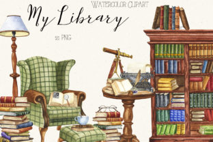 Watercolor Vintage Books Graphic Illustrations By KaleArtCreative