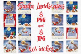 Print on Demand: Christmas Santa Backgrounds Flying Santa Graphic Illustrations By LeCoqDesign