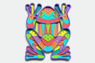 Layered Frog Design for Cutting Graphic 3D Shapes By LaserCraftum