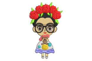 Frida Kahlo Doll with Glasses Babies & Kids Embroidery Design By Embroiderypacks