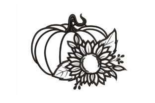 Pumpkin with a Sunflower Autumn Embroidery Design By SonyaEmbroideryStore